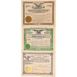Three Southern Baseball Stock Certificates  (101411)