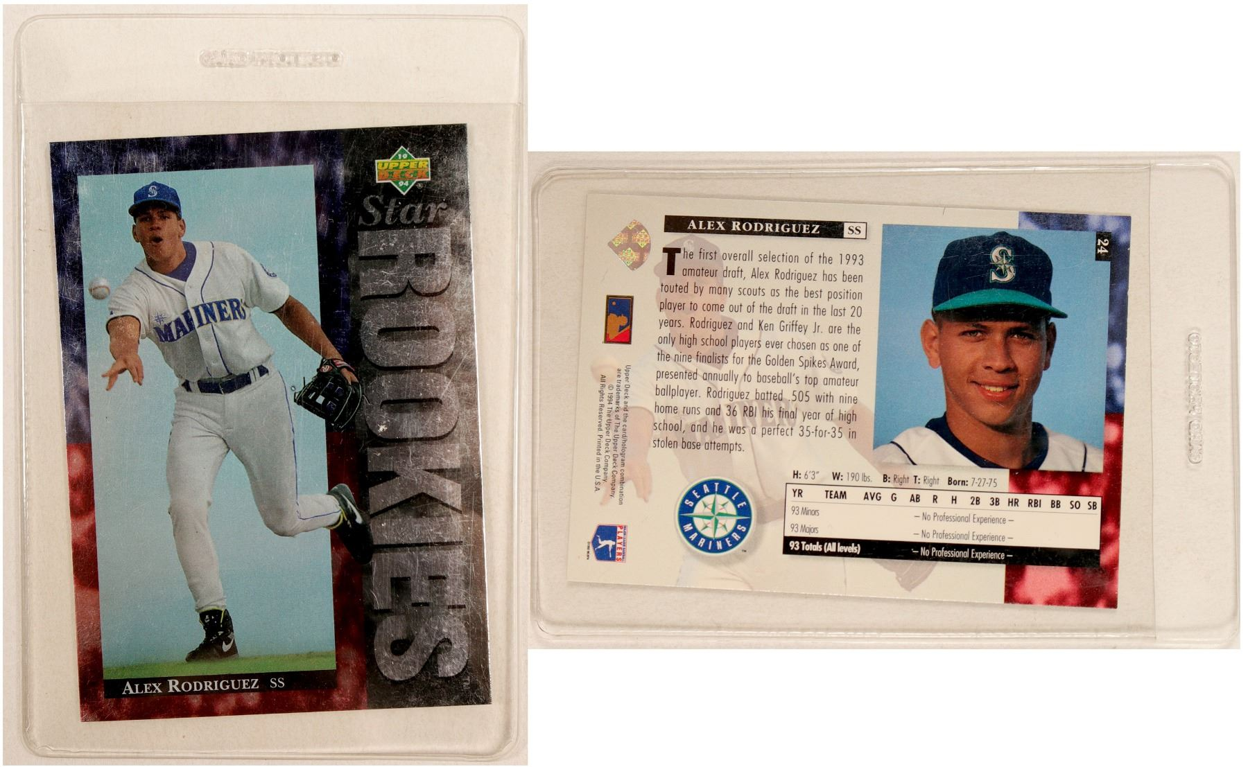 Upper Deck Alex Rodriguez Rookie Card 104069