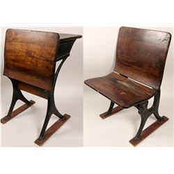Vintage Wooden School Desk and Seat  (102708)
