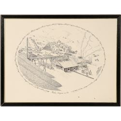 Print of Bisbee, Arizona mining operation  (91481)