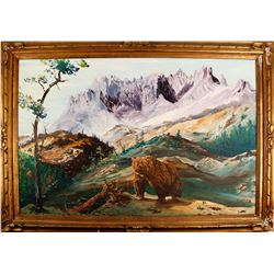 Purple Mountain Majestyand Grizzly Bear Painting  (76043)