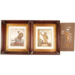 Navajo Sand Painting & 2 Framed Art Monkey Prints  (86854)