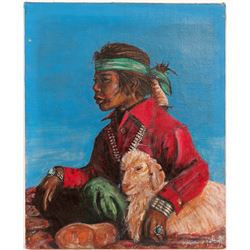 Oil Painting / Native American Boy With lamb / By Edmund P. Kellog.  (102141)