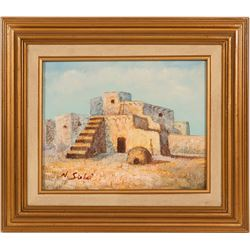 Oil Painting / A pueblo / By N. Siebel  (102134)