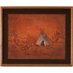Stamped Leather Teepee Painting by Bob Robinson  (90726)