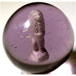 "Marble / Sulphide ""Standing Egyptian  Lion Holding A Staff ""  (100655)"