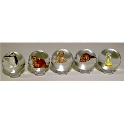 "Marbles / "" Contemporary"" Sulphides / 5 Items  (100639)"