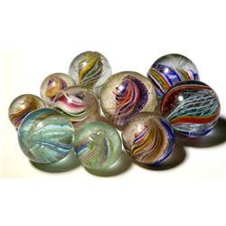 "Marbles / ""Various Swirls"", 1/2"" -3/4"". / 10 items.   (100609)"