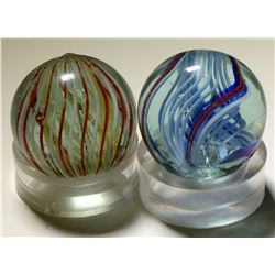 "Marbles / Latticinio Swirls , 1"" / 2 Items.  (100620)"