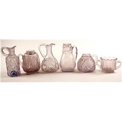 Syrup Pitchers & Sugar Server / Pressed Glass  / 6 pieces.  (78834)