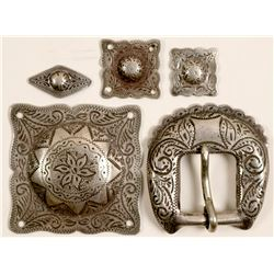 Sterling Belt Buckle and Conchos  (91306)