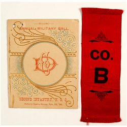 Auburn, CA Military Ball 1895 Program and Ribbon  (81433)