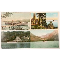 Lake Tahoe, CA Steamer Post Cards (4)  (90730)
