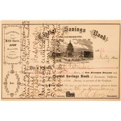 Capital Savings Bank of Sacramento Stock Certificate  (100758)