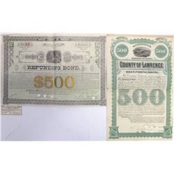 Two Different 1880s Lawrence County, Dakota Territory Bonds  (60494)