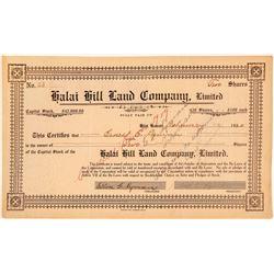 Halai Hill Land Company Stock Certificate  (101525)