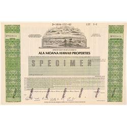 Ala Moana Hawaii Properties Specimen Stock Certificate  (101528)