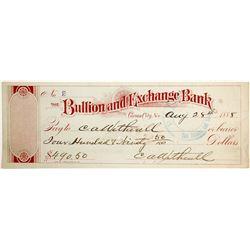 Bullion and Exchange Bank Check  (82578)