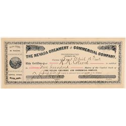 The Nevada Creamery & Commercial Co. Stock Certificate  (91823)