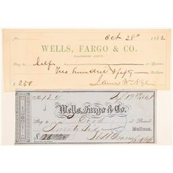 Two Wells Fargo Checks - One Signed by Territorial Governor Nye  (102259)