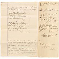 1885 John Jones and William Sharon Court Complaint  (99892)