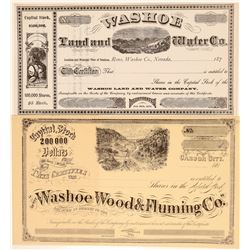 Two Nice Nevada Stock certificates: Wood, Flume, Land and Water  (102249)