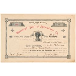 Cleveland Canal & Agricultural Co. Stock Certificate   (100799)