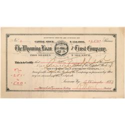 Wyoming Loan & Trust Co. Stock Certificate--Number 2  (100979)