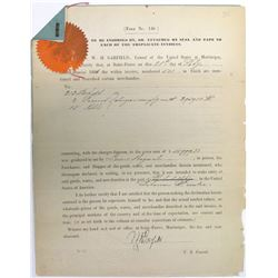 1881 Document Signed by U.S. Consul to Martinique  (60496)