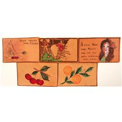 Leather Post Cards (5)  (91228)