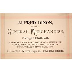 Alfred Dixon, Wells Fargo Office and Gold Dust Dealer Business Card  (59733)