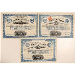 Alaska United Gold Mining Company Blue Stock with Coupons!  (101438)