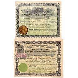 Two Arizona Mining Stock Certificates  (100895)