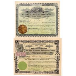 Two Arizona Mining Stock Certificates  (100895)