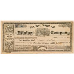 Alpi Development & Mining Co. Stock Certificate  (100720)