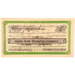 Ophir Gold Dredging Company Stock Certificate  (101616)