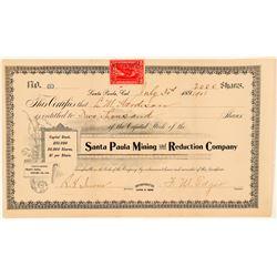 Santa Paula Mining & Reduction Co. Stock Certificate  (100839)