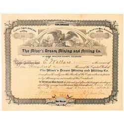 Miser's Dream Mining & Milling Co. Stock Certificate  (91581)