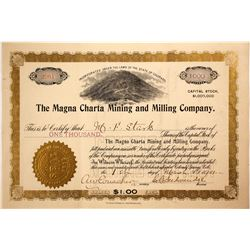 Magna Charta Mining & Milling Co. Stock Certificate, Cripple Creek, CO, 1901  (60913)