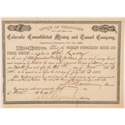Colorado Consolidated Mining & Tunnel Co. Loan Certificate  (100942)