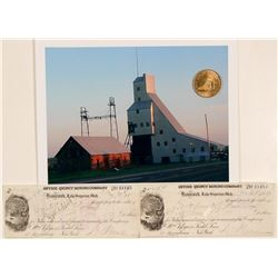 Quincy Mining Company Medal and Checks  (102230)