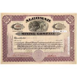 Algomah Mining Company Stock Certificate  (102214)