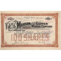 Michigan Copper Mining Company Stock Certificate  (102215)