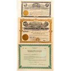 Three Battle Mountain, Nevada Mining Stock Certificates  (101606)