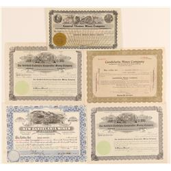 Five Candelaria, Nevada Mining Stock Certificates  (102161)