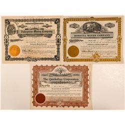 Three Churchill County, Nevada Mining Stocks incl January Jones Signature  (101600)