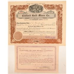 Two Clifford Mining Company Stock Certificates  (102179)