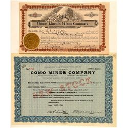 Two Como, Nevada Mining Stock Certificates  (101626)