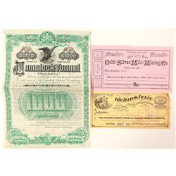 Comstock Mining Stock Certificate Trio  (91543)
