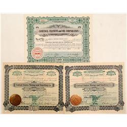 Three Contact, Nevada Mining Stock Certificates  (102176)